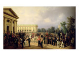 The Russian Guard in Tsarskoye Selo in 1832, 1841 Giclee Print by Franz Kruger