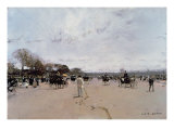 Carriages on the Champs Elysees Giclee Print by Luigi Loir