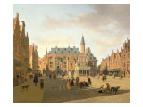 The Market Place with the Raadhuis, Haarlem Giclee Print by Gerrit Adriaensz Berckheyde