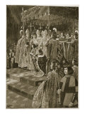 The Presenting of the Spurs and Sword at the Coronation of Henry Vi on St. Leonard's Day, November  Giclee Print by Samuel Begg