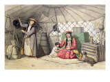 Kalmuk Women in their Tent Reproduction proc&#233;d&#233; gicl&#233;e par Francois Fortune Antoine Ferogio