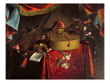 Still Life of Musical Instruments on a Table with Flowers Lmina gicle por Evert Collier