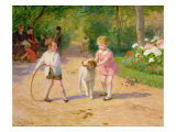Playing with the Hoop Giclee Print by Victor Gabriel Gilbert
