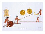 Tanner and Ropemaker, from a Rare Record of Frescoes from Thebes, recorded 1819-1822 Giclee Print by Frederic Cailliaud
