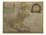 Map of Central and North America, Published in 1700, Paris Reproduction proc&#233;d&#233; gicl&#233;e par Guillaume Delisle