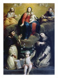 The Madonna of the Rosary with SS Dominic, Catherine, Mary Magdalene, and Joseph, 1732 Giclee Print by Luigi Crespi