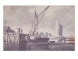 Sailing Barges Approaching a Wharf Giclee Print by William Anderson