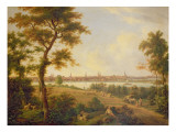View of Lubeck, 1869 Reproduction proc&#233;d&#233; gicl&#233;e par Andreas Achenbach