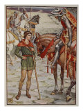 Young Percival Questions Sir Owen, from 'Stories of Knights of Round Table' by Henry Gilbert Giclee Print by Walter Crane