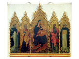 Madonna and Child with SS. Dominic, Peter, Paul and Thomas Aquinas, Altarpiece, 1445 Gicle-tryk af Giovanni di Paolo di Grazia