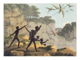 Throwing the Spear, Aborigines Hunting Birds from New South Wales engraved by Matthew Dubourg Giclee Print by John Heaviside Clark