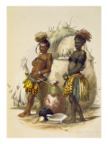 Dabiyaki and Upapazi, Zulu Boys in Dancing Dress, plate 17 from 'The Kafirs Illustrated', 1849 Giclee Print by George French Angas
