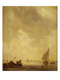 A River Scene, with Fishermen Laying a Net, 1638 Giclee Print by Jan Josephsz. Van Goyen