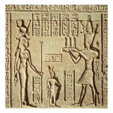 Relief Depicting a Pharaoh Making an Offering to Hathor, from the Roman Birth House, or Mammisi Giclee Print