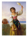 Young Girl with a Distaff Giclee Print by Joseph Bouvier