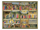 Scenes from Passion of Christ and Last Judgement, Originally Drawers from a Cabinet Storing Silver Giclee Print by Fra Angelico