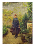Woman with Watering Cans Giclee Print by Louis Adan