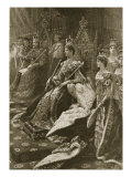 The Coronation Ceremony of 1902: the Position of Alexandra, Queen Consort at Her Inthronization Giclee Print by Samuel Begg