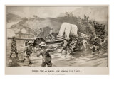 Taking the 47 Naval Gun across the Tugela Reproduction procédé giclée par Joseph Finnemore