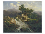 Forest Landscape with Waterfall Giclee Print by Julius Bakof