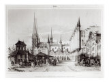 The Senate and Marketplace in Lubeck, Illustration from 'Voyage pittoresque en Russie', 1839 Giclee Print by Andre Durand