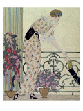 "Gazette du Bon Ton, Costume, ""N'en Dites Rien"", a Lady Standing on a Balcony Receiving a Letter Giclee Print by Georges Barbier"