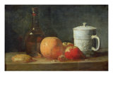 Still Life with Fruit and Wine Bottle Giclee Print by Jean-Baptiste Simeon Chardin