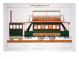 Design for a Steam Tram, Plate 126 from 'The Industrial Practitioner', engraved by the artist Giclee Print by A. Cheneveau