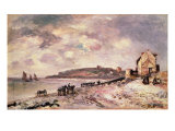 Seascape with ponies on the beach Giclee Print by Johan-Barthold Jongkind