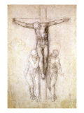 Study of Christ on the Cross between the Virgin and St. John the Evangelist Giclee Print by Michelangelo Buonarroti