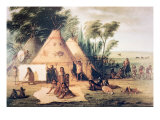 Village of the North American Sioux Tribe Giclee Print by George Catlin