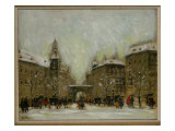 Budapest in the Snow Giclee Print by Antal Berkes