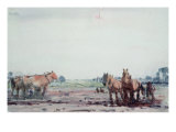 Plough Horses Giclee Print by Harry Becker