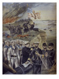 Spanish-American War, Landing at Guantanamo, Cuba, Illustration from 'Le Petit Journal' Giclee Print by Fortune Louis Meaulle