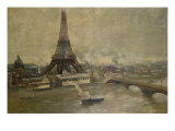 The Construction of the Eiffel Tower, January 1889 Giclee Print by Paul Louis Delance