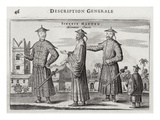Chinese Men, a General Description from an Account of a Dutch Embassy to China, 1665 Giclee Print by Jacob Van Meurs
