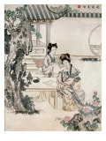 Chinese Ladies in a Garden Giclee Print