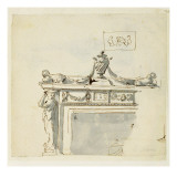 Sketched Design for a Fireplace Giclee Print by Robert Adam