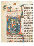 Historiated Initial Depicting King David playing a Carillon, Illustration from a Psalter Giclee Print