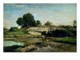 The Lock at Optevoz, 1859 Giclee Print by Charles-Francois Daubigny