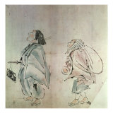 Samurai Being Followed by a Servant Giclee Print by Hanabusa Itcho