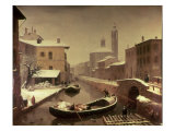 Boat under the Snow Reproduction procédé giclée par Angelo Inganni