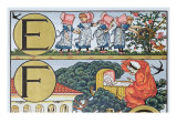 E-F, from an Alphabet Based on Nursery Rhymes Giclee Print by Walter Crane