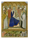 The Carmine Altarpiece, central panel depicting the Virgin and Child with angels, St. Nicholas and  Giclee Print by Pietro Lorenzetti