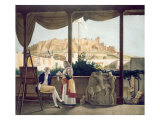 The French Consul, Monsieur Fauvel, on the Terrace of his House in Athens, engraved by the Thierry  Giclee Print by Louis Dupre