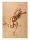 A Seated Male Nude Twisting Around, c.1505 Giclee Print by  Michelangelo Buonarroti