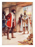 Montezuma a Hostage in Cortes' Hands Giclee Print by Arthur A. Dixon