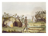 Native Cabin, New Holland, Plate 64 from 'Le Costume Ancien et Moderne', by Jules Ferrario Giclee Print by Angelo Biasioli