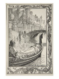 The Barge floated down the River, illustration from 'Stories of King Arthur and the Round Table' Giclee Print by Dora Curtis