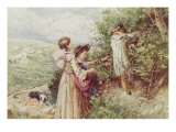 Children Picking Blackberries Giclee Print by Myles Birket Foster